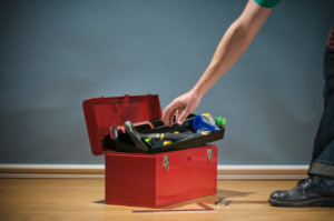 Toolbox with hand