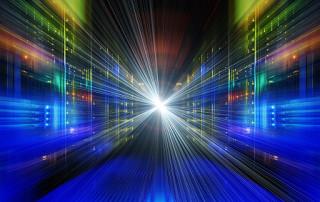 series mainframe in a futuristic representation of light streams