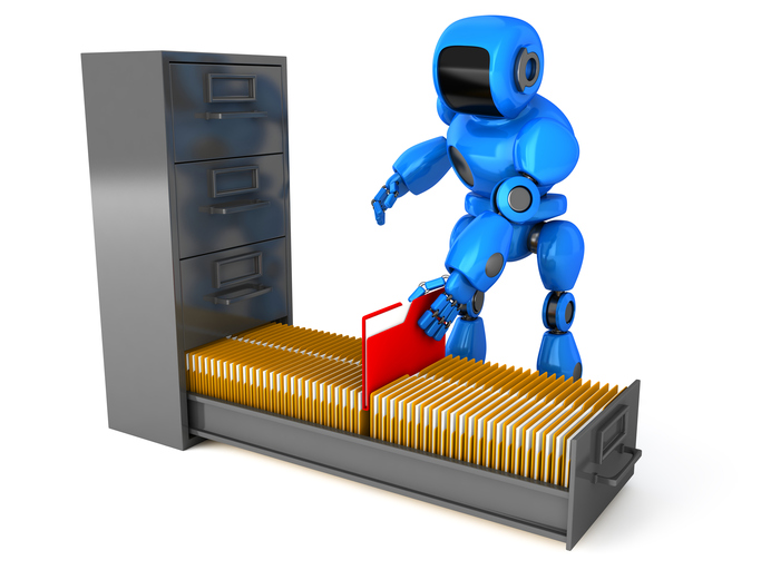 A robot processing files in a filing cabinet for rpa