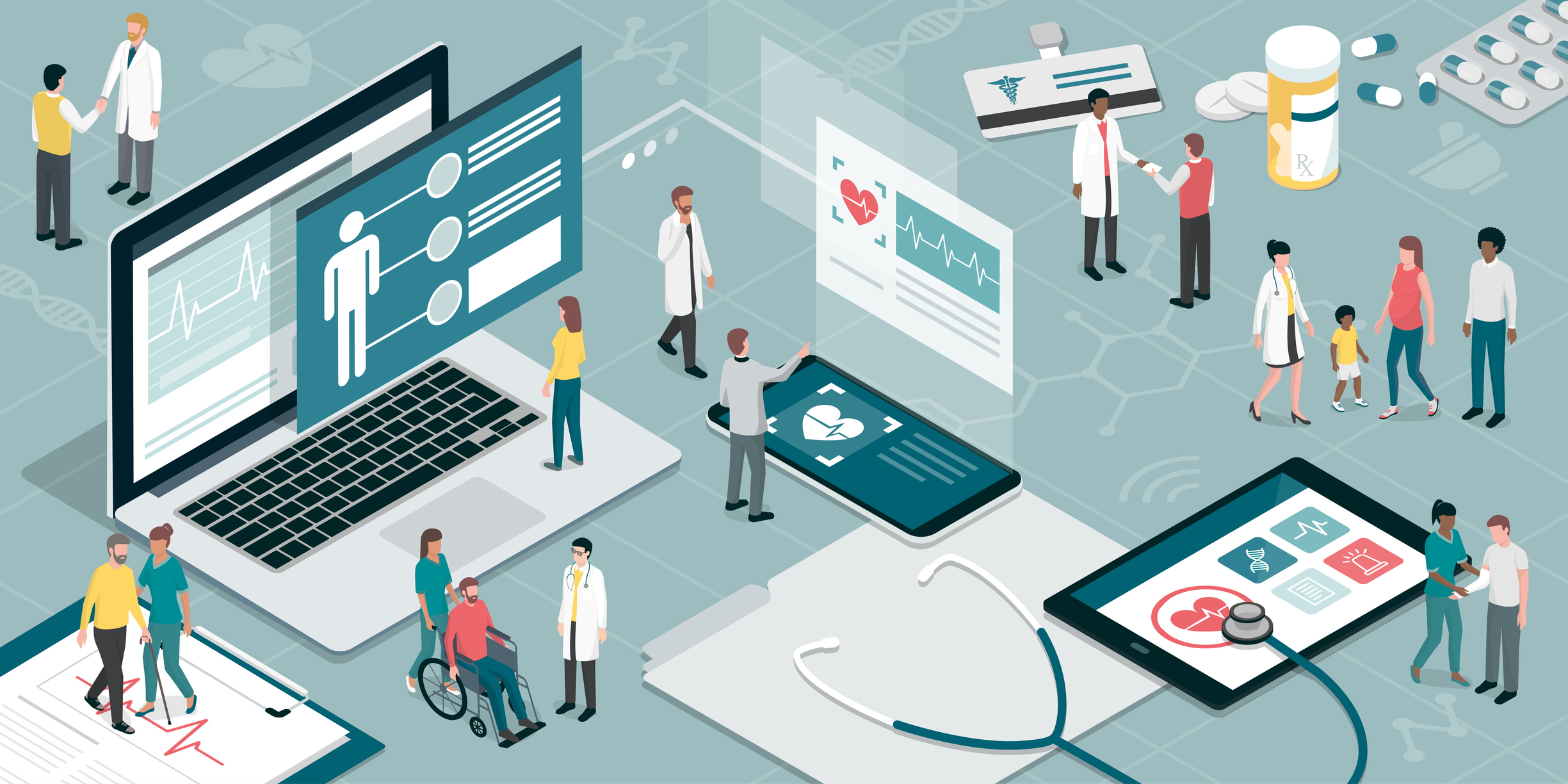healthcare and technology illustration of electronic health records (EHR)