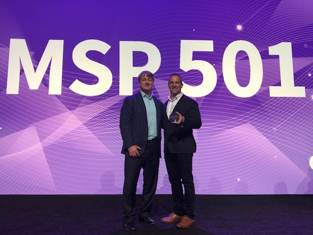 David Carlson and Mike Conley accepts MSP award for Sirius